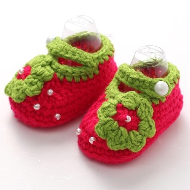 Suaves hechos a mano Zapatos de bebé ganchillo Zapatillas zapatos ...