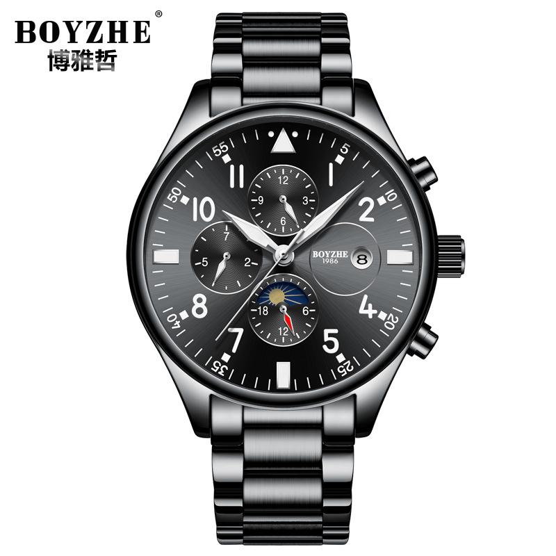 mens watches black blue 316L stainless steel mechanical Automatic luxury brand boyzhe man watches waterproof Moon Phase calendar все цены