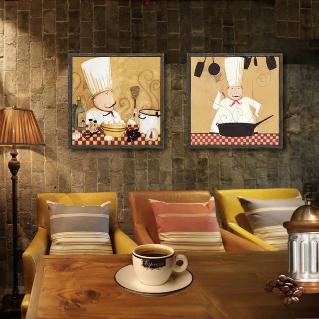 Frameless Modern Cartoon Chefs Canvas Prints Restaurant: Vintage American Chef Kitchen Entrance Mural Paintings