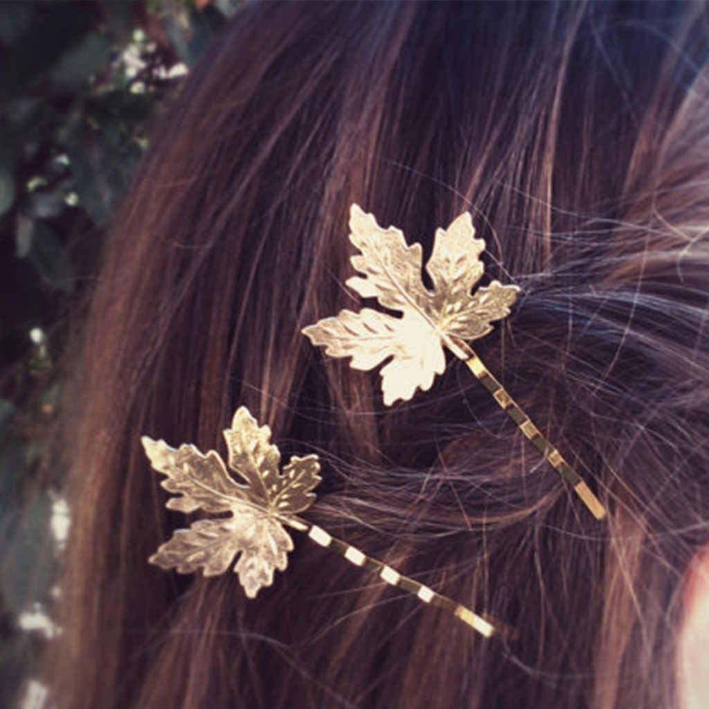 New Fashion Wedding Jewelry Gold Color Maple Leaf Hair Clip Alloy Hairpin For Women Girls High Quality Bridal Hair Accessories