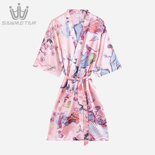 Women Silk Robe Sexy Satin Bathrobe Wedding Bride Robe Bridesmaid Robes Summer Women Print Kimono Flower Sleepwear Dressing Gown