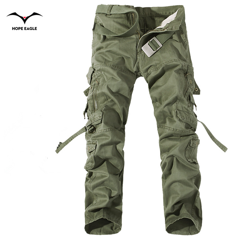 2019 New Men Cargo Pants army green big pockets decoration mens Casual trousers easy wash male autumn army pants plus size 42(China)