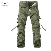 2017 New Men Cargo Pants army green big pockets decoration mens Casual trousers easy wash male autumn army pants plus size 42(China)