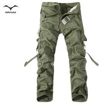 2016 Новый Мужчины Брюки-Карго army green большие карманы украшения мужские повседневные брюки легко мыть мужской осенью армия брюки плюс размер 42