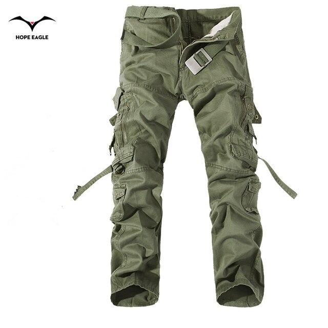 2018 novos homens calças de carga verde do exército grandes bolsos decoração mens calças casuais fácil lavagem masculino outono calças do exército plus size 42