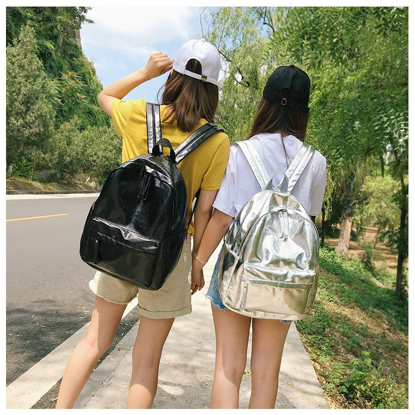 Kpop Shiny backpacks women big capacity Casual Girls School Bag Laptop Backpack sac PU leather Travel Rucksack female bags Silver Gold (25)