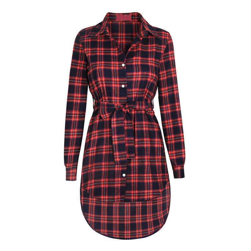Дропшиппинг новое женское платье сексуальное с длинным рукавом офисное платье нерегулярные платье-рубашка в шотландскую клетку женская одежда