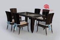 Мебель Патио Сад плетеная набор столовой, элегантный сад Алюминий обеденный стол и стул, набор столовой