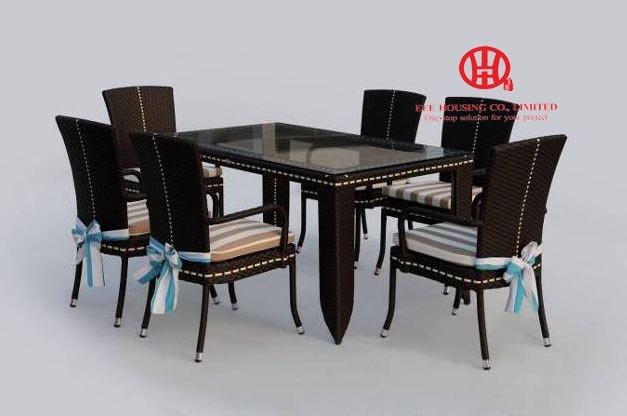Outdoor Furniture Patio Garden Wicker Dining Set,Elegant Garden Aluminum Dining Table And Rattan Chair,dining Room Set