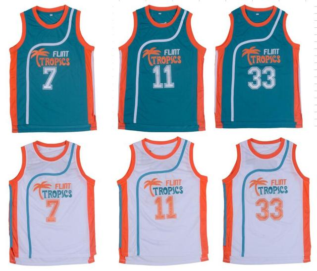 Retro Basketball Jersey Semi Pro Flint Tropical Jackie Moon Throwback Jerseys  Stitched Jersey Man White Green  33  7  11 Movie 14a4e191e