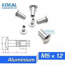 [YKAL-M5* 12] 100 шт в наборе, M5 серии овальная головка половина полая заклепка M5* 12 мм алюминиевая стальная заклепка
