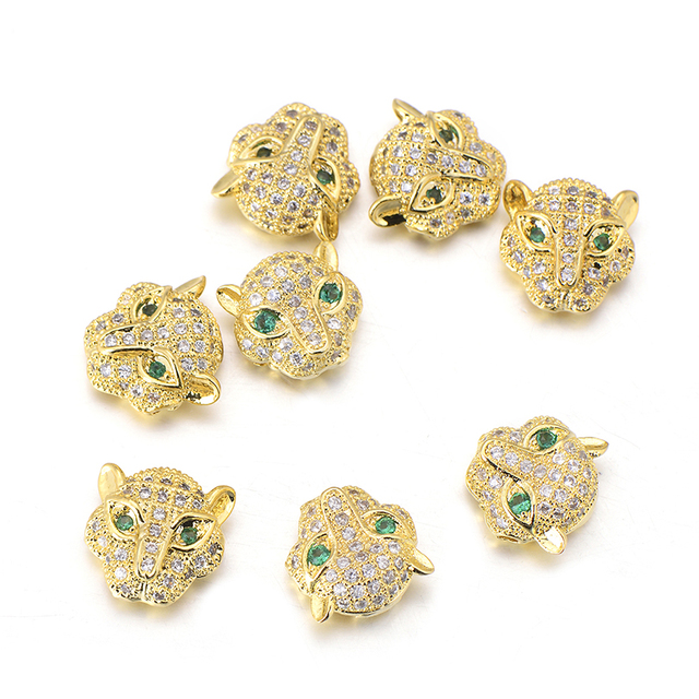 Wholesale 3pcs lot Delicate Gold Color Zircon Leopard Beads For Jewelry  Making Copper Micro Pave cd7ff83f4957