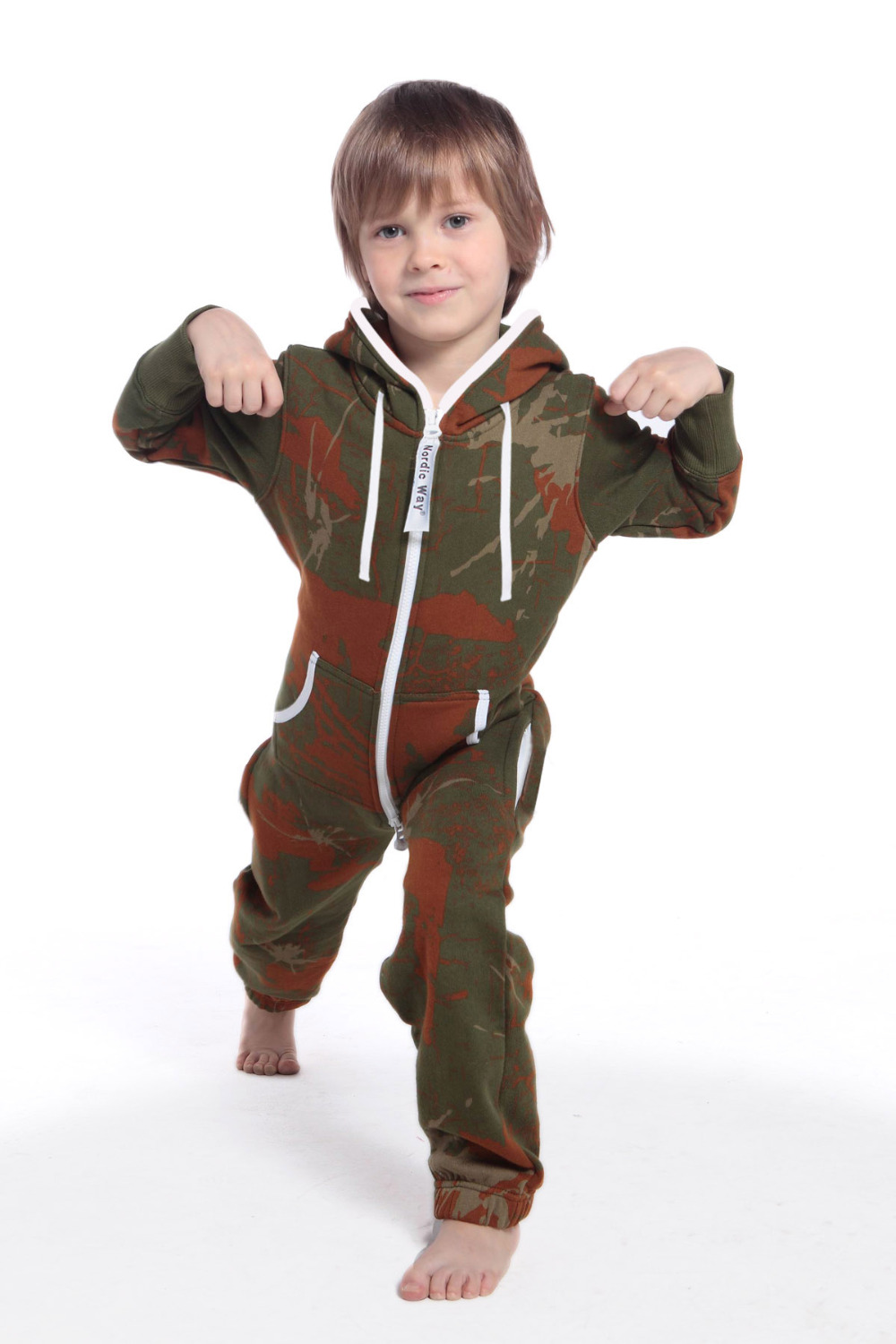 Unisex Nordic Way Camo Kids Jumpsuit Romper One Piece Zip Fleece Hoodies Playsuit