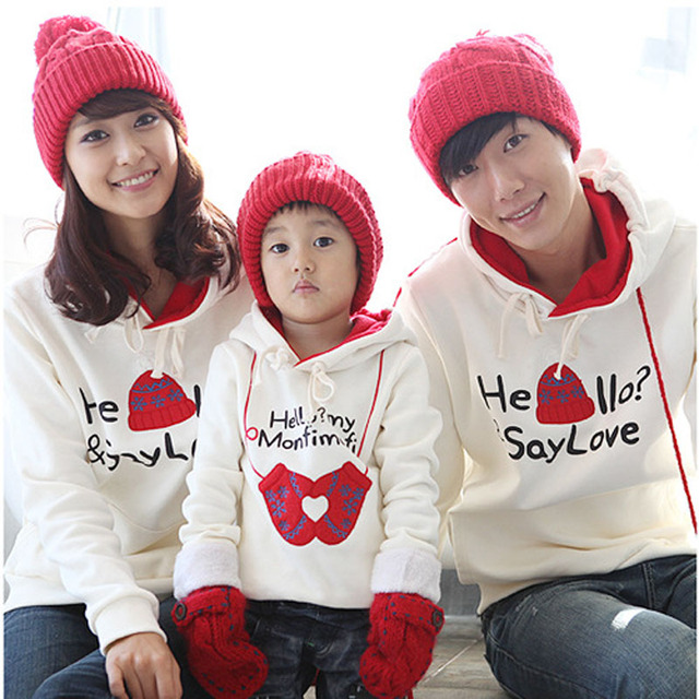 Family Look Sweatershirt Clothes 2016 Autumn Spring Mother Daughter Father Son Pullover Hoodies Family  With Hooded Clothing