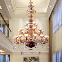 Villa French chandeliers duplex living room lamps European ceramic hall crystal lamp stairs three story Ceiling Chandelier