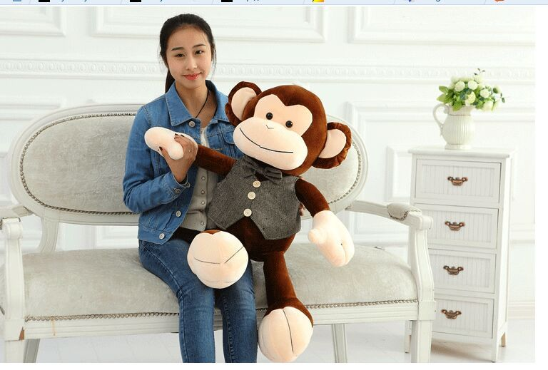 ФОТО middle new plush happy monkey toy creative vest and bow monkey doll gift about 75cm