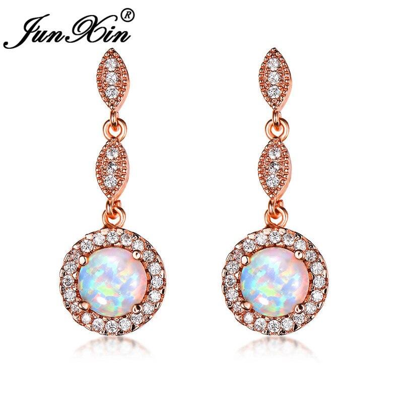 JUNXIN Boho White Blue Fire Opal Earrings Round Rainbow Stone Rose Gold Filled Green Zircon Round Dangle Drop Earrings For Women