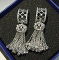 2016 Exaggerated elegant jewelry White Gold Plated AAA cubic zircon sparkling tassel long wedding dangle earrings