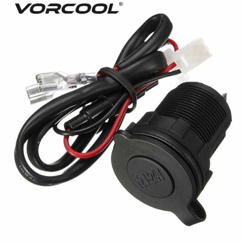 VORCOOL DC 12V/24V Universal Waterproof Cigarette Lighter Outlet Socket Adapter with 60cm Cable For Car Motorcycle Boat Tractor