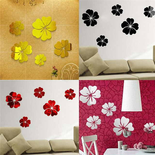 5Pcs/Set 3D Flowers Wall Sticker Home Decoration Wall Art DIY Mirror Wall  Stickers Silver