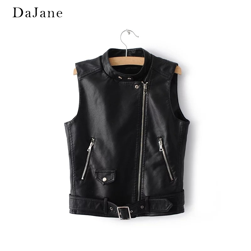 Women's Autumn Winter New   Leather   Vest Short Zipper Shirt Shirt Manufacturers   Leather   Jacket Women
