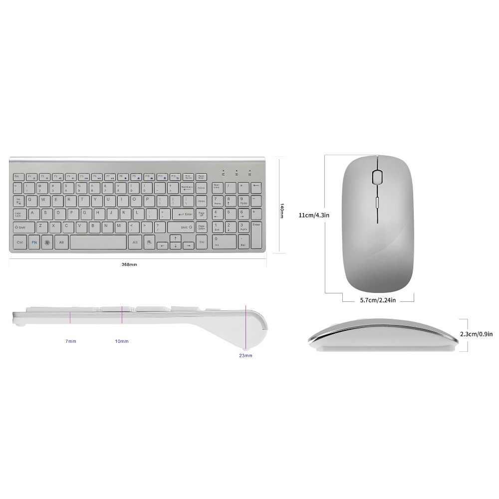人間工学超薄型低ノイズ 2.4 グラムワイヤレスキーボードとマウスのコンボワイヤレスマウス mac Pc の Windows XP/7/10 アンドロイド Tv ボックス