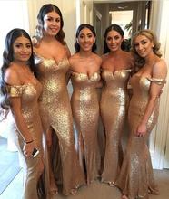 Off The Shoulder Mermaid Rose Gold Bridemaid Dresses 2019  Full Sequined Side Slit Prom Maid of Honor Party Gown
