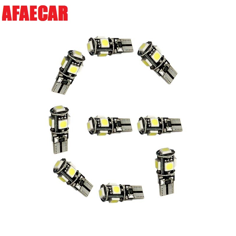 AFAECAR <font><b>100Pcs</b></font> <font><b>T10</b></font> <font><b>Canbus</b></font> White 5smd 5050 Led Car W5w 194 168 Error Bulbs image