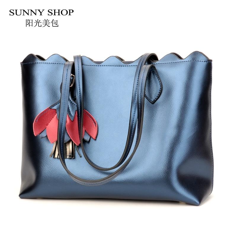 SUNNY SHOP Genuine Leather Luxury Handbags Women Bags Designer Tote Fashion Real Leather Shoulder Bag ladies hand bags purses пуловер quelle rick cardona by heine 128155