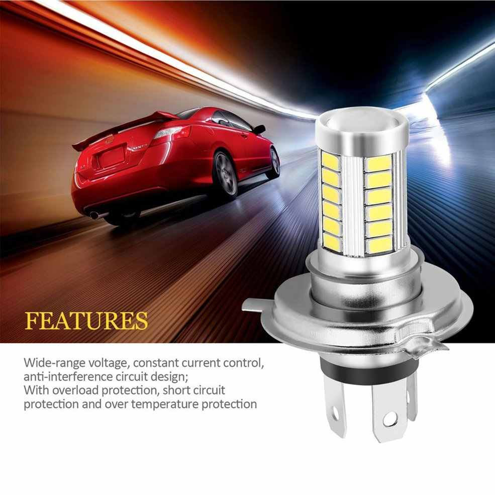 H4 33SMD 5630 LED Super Bright White Car Headlight Light Source DRL Daytime Traffic Lights Bulb Lamp LED 12V 8W Wagon