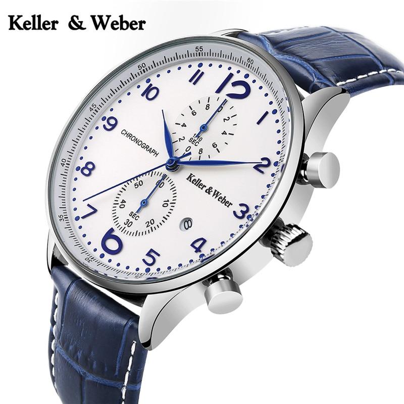 K&W Men Chronograph Watches Date Display Leather 3 ATM Waterproof Business Analog Quartz Wrist Watch Male Sport Clock Calendar mike 320 men s business casual analog quartz wrist watch w calendar silver