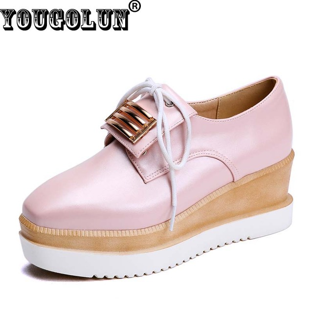 YOUGOLUN Elegant Loafers Women Casual Lace up Square toe Shoes Woman Fashion Knot Shoe Lady White Pink Blue Spring Platform Shoe
