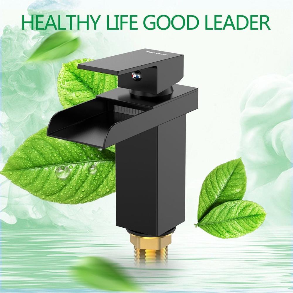 Modern Bathroom Mixer Faucet Deck Mount Waterfall Basin Sink Single Handle Taps
