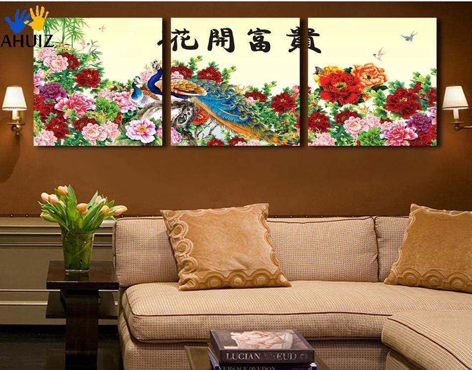 paneles moderna pintura abstracta de la flor lienzo de pared cuadros flores peacock imagen home