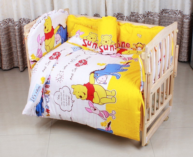 Promotion! 6PCS baby crib bedding Sets cotton bed around all-inclusive package,unpick(3bumpers+matress+pillow+duvet) ...