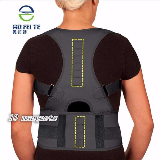 2017 Hot Sale Magnetic Back Support For Men Unisex Neoprene Back Shoulder Support Back Protecture Corrector Black And WhiteS-2XL