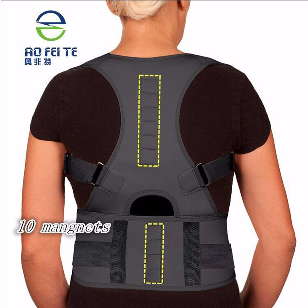 Spine Support Belt for Men Women New Magnetic Posture Corrector Neoprene Back Corset Brace Straightener Shoulder Back Belt Black