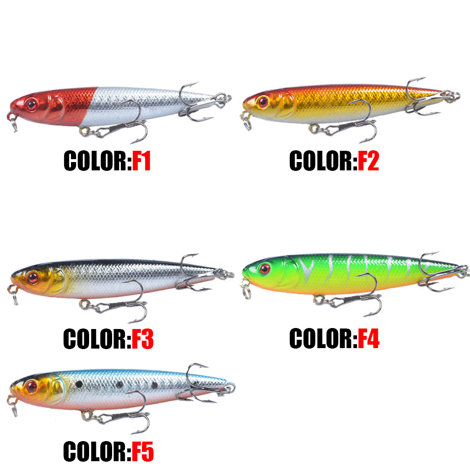 Image 5 - 8cm 9.5g Pencil Fishing Lure Snake Head Hard Artificial Bait 3D Eyes 6# Hooks Fishing Wobblers Topwater Crankbait Minnow Pesca-in Fishing Lures from Sports & Entertainment