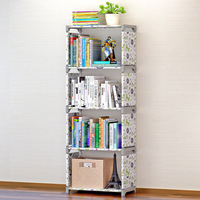 Simple five shelf bookshelf Non woven steel pipe Free standing bookshelf Living room furniture Dust storage rack Storage rack