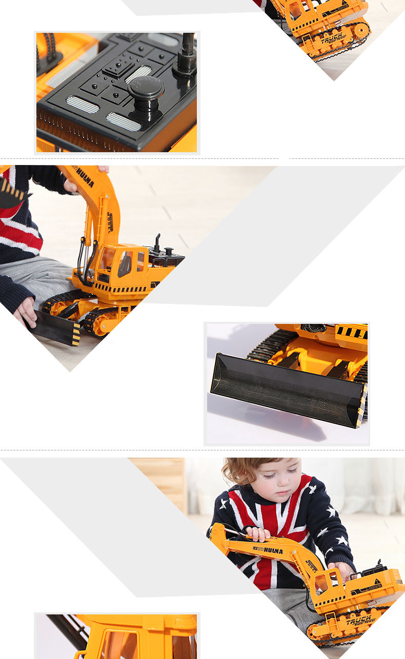 Large 11 Channels RC Excavator RC Car Remote Control Toys Car Electric Excavator Charging Electric Vehicle Toys For Kids Boys 14
