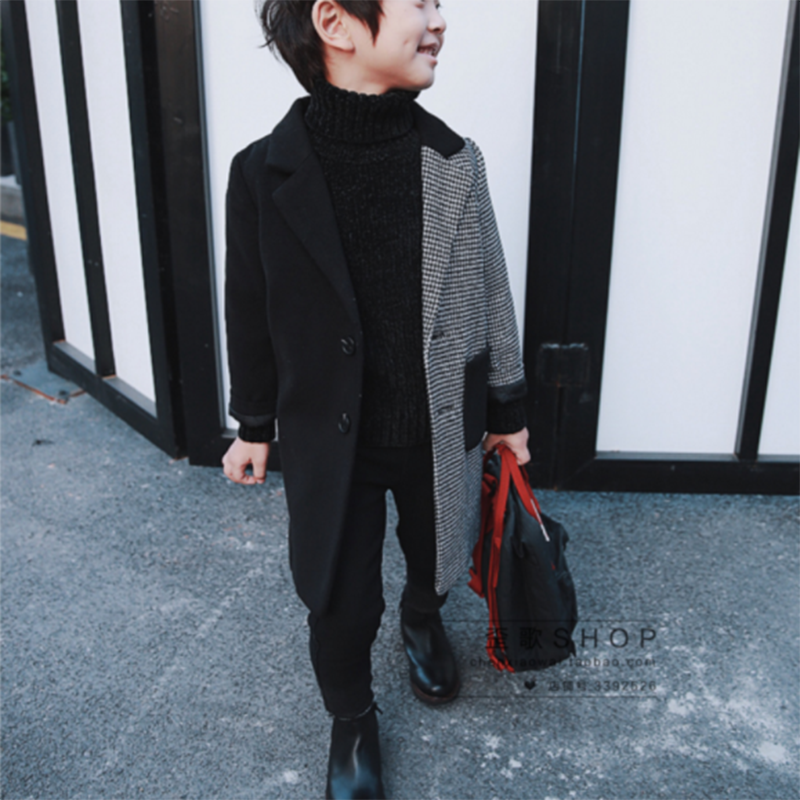 Для мальчиков шерстяное пальто 2018 осенняя и зимняя одежда новые модные большие дети в длинные детская ветровка шить шерстяное пальто