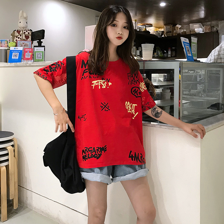 T-shirts Women Graffiti BF European Style Loose Harajuku Hip Hop Streetwear Chic Couple Clothes Unisex Daily Tshirt Womens Soft 94