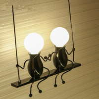 American Country Creative Iron Art LED Wall Lamp,Retro Bedroom Bedside Aisle Cartoon Robot Wall Light for Children Room Luminair