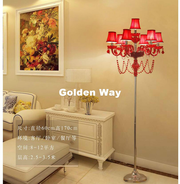 Free Shipping D60cm H150cm Gold/Red Crystal Glass Floor Lamp ...