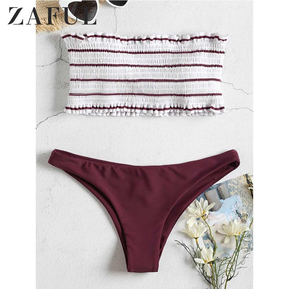 ZAFUL Bikini 2019 Striped Shirred Frilled Bandeau Bikini Set Women Strapless Ruffles Swim Suit Low Waisted Unlined Bathing Suit