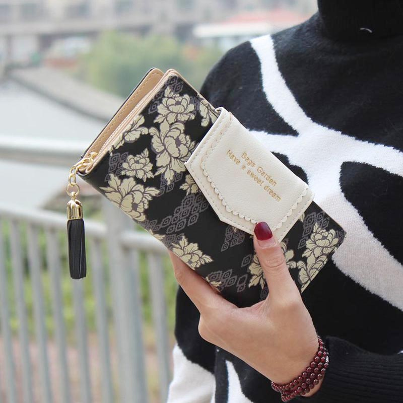 Vintage Tassel Wallet Women Floral Pattern Purse Ladies Zipper Flower Long Wallet Clutch Money Bag Card Holder Carteira Feminina