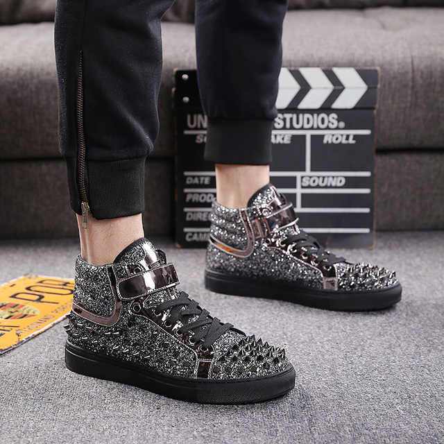 mens casual banquet prom wear breathable rivet shoes personality flat platform shoe outdoors stage ankle boots zapatos hombre