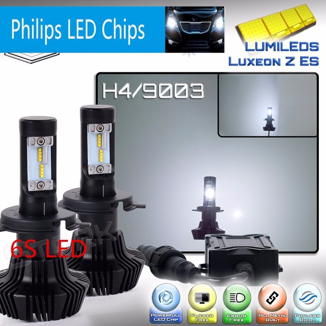 6S Canbus Error Free Auto Car LED headlight PhilipsLUXEON ZES LED 160W 16000LM H4 P43T HB2 Turbo Headlight High/Low Beam Bulb