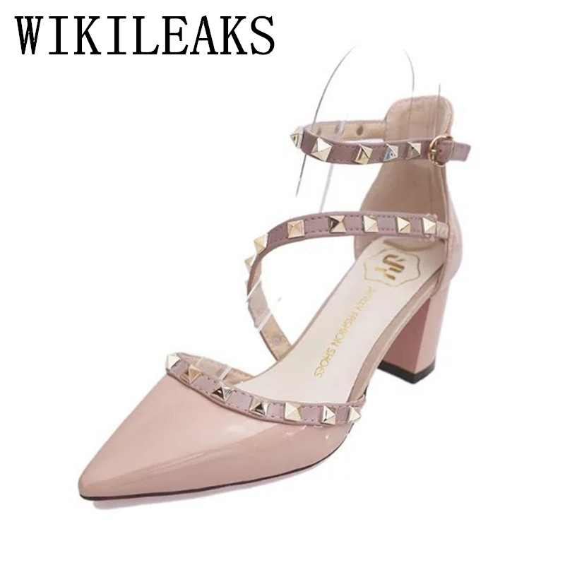 summer medium heel shoes women 2017 pointed toe gladiator sandals women patent leather rivet sexy high heels sandals women pumps women chic champagne patent leather sandals square thick high heels pumps covered heel single strap gladiator shoes golden pumps