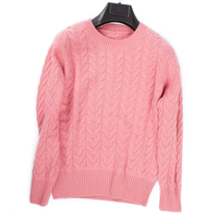 100% козья кашемир Витая Вязать женские модные короткие пуловер свитер ONeck розовый 4 вида цветов ЕС/S 2XL